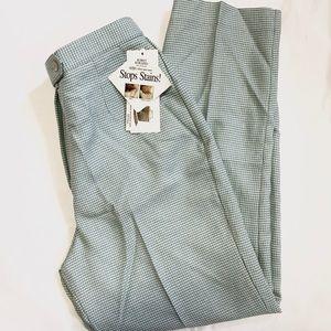 VINTAGE Petite Aqua Houndstooth Straight Leg Pants